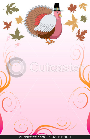 Thanksgiving Background 7 stock vector clipart, Vector Illustration of a Thanksgiving Background with Thanksgiving Turkey and pink background. by Basheera Hassanali