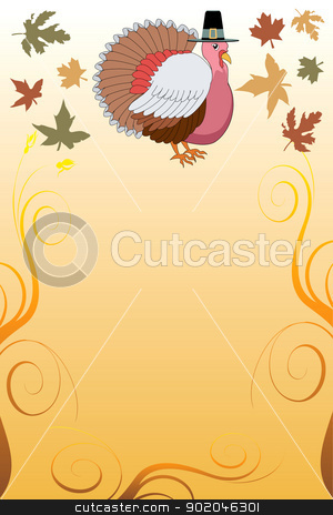 Thanksgiving Background 6 stock vector clipart, Vector Illustration of a Thanksgiving Turkey Pilgrim Background with harvest vegetables. by Basheera Hassanali