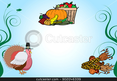Thanksgiving Background 2 stock vector clipart, Vector Illustration of a Thanksgiving Turkey Background with fruit basket and corn. by Basheera Hassanali