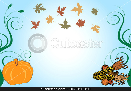 Thanksgiving Background 1 stock vector clipart, Vector Illustration of a Thanksgiving Background with pumpkin and corn. by Basheera Hassanali