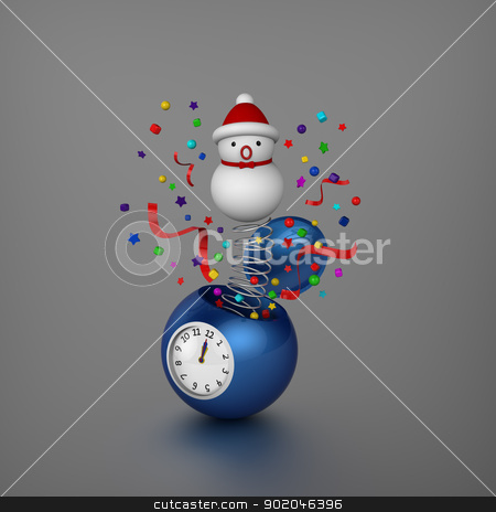 Snowman and ornaments bounced out from sphere alarm clock when Christmas was coming  stock photo, 3D model of snowman and decoration bounced out from sphere alarm clock at midnight to announced