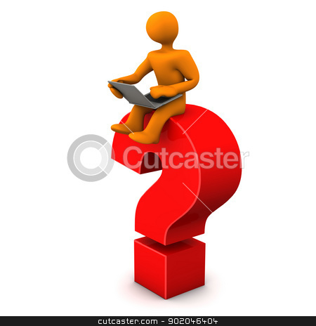 Search Engine Helps stock photo, Orange cartoon character sits on the big red question mark. White background. by Alexander Limbach