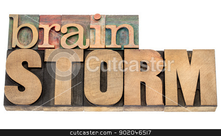 brainstorm word in wood type stock photo, brainstorm - isolated word in vintage letterpress wood type blocks by Marek Uliasz