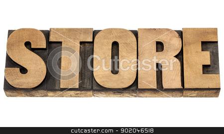 store word in wood type stock photo, store - isolated word in vintage letterpress wood type blocks by Marek Uliasz
