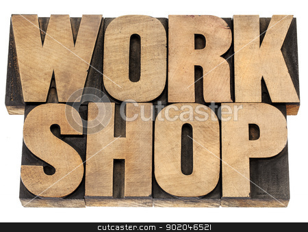 workshop word in wood type stock photo, workshop - isolated word in vintage letterpress wood type blocks by Marek Uliasz