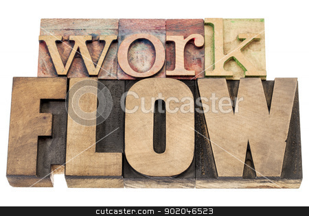 workflow word in wood type stock photo, workflow - isolated word in vintage letterpress wood type blocks by Marek Uliasz