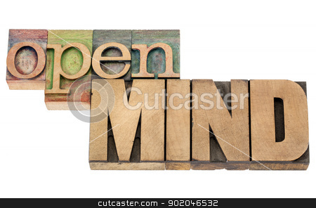 open mind in wood type stock photo, open mind - isolated words in vintage letterpress wood type blocks by Marek Uliasz