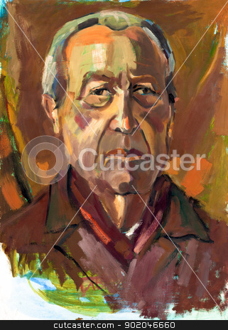 Senior man portrait stock photo, Original oil painting on canvas.Portrait of a senior man.Modern Impressionism by borojoint