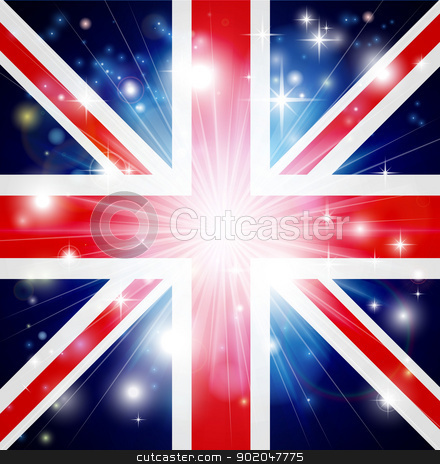 Union Jack flag background stock vector clipart, Union Jack flag of United Kingdom background with pyrotechnic or light burst and copy space in the centre by Christos Georghiou