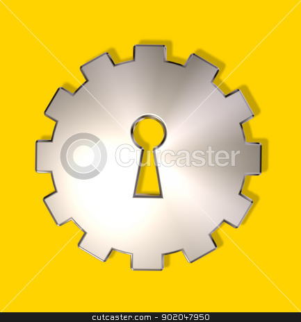 industry spying stock photo, gear wheel with key hole - 3d illustration by J?
