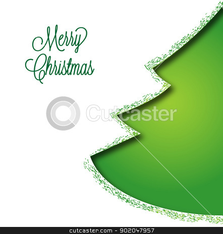 Christmas tree stock vector clipart, Christmas tree on a white background by Miroslava Hlavacova