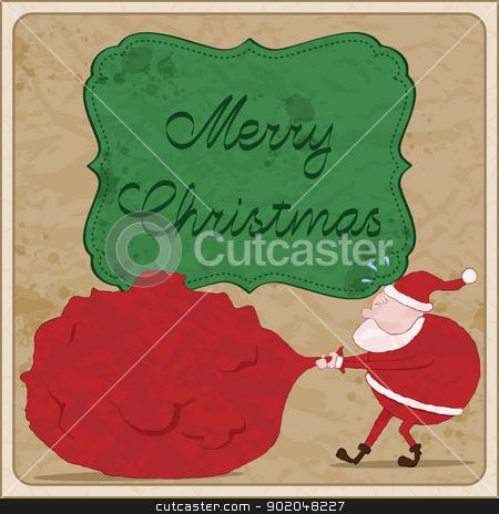 Christmas card with Santa stock vector clipart, Hand drawn christmas card with Santa. by wingedcats