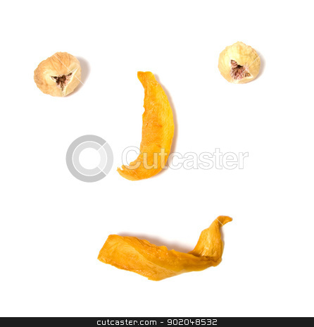human face imitation with dried fruits isolated on white backgro stock photo, human face imitation with dried fruits isolated on white background by Natika