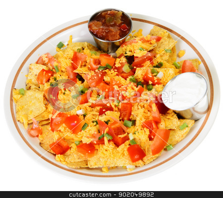 Nachos stock photo, A plate of nachos and cheese, isolated on a white background. by Richard Nelson