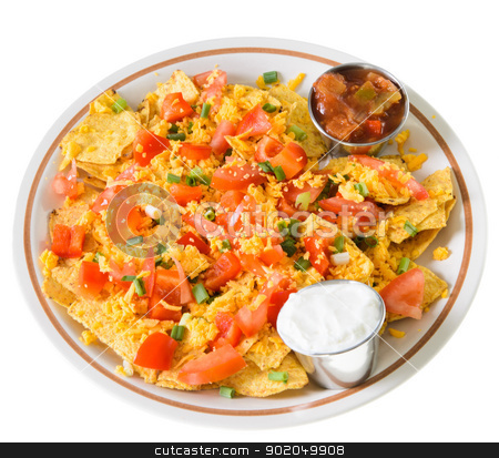 Plate of Nachos with Cheese stock photo, A plate of nachos and cheese, isolated on a white background. by Richard Nelson