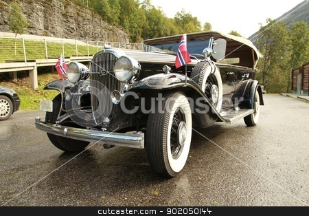 Wedding limousine stock photo, Wedding limousine on a suburban highway in Norway by Yury Fomin