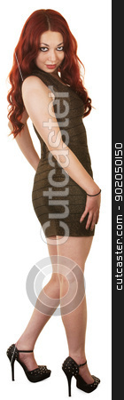 Pretty Woman in Short Dress stock photo, Beautiful woman in short dress and high heels by Scott Griessel
