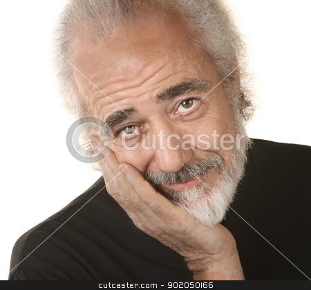 Man with Head in Hand stock photo, Handsome mature man resting head in palm by Scott Griessel