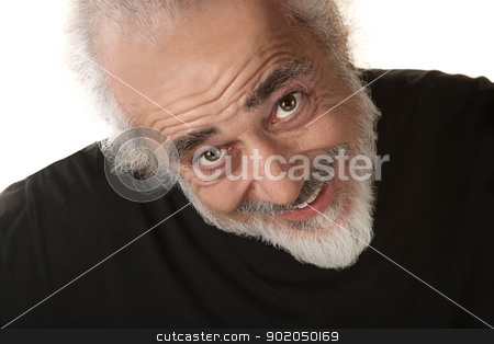 Happy Man Looking Up stock photo, Happy older adult in beard looking up by Scott Griessel