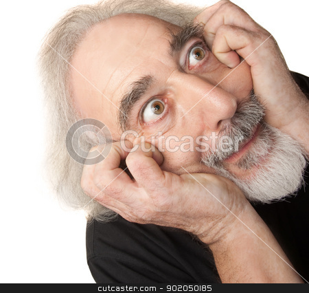 Paranoid Senior Male stock photo, Paranoid European man in gray beard over isolated background by Scott Griessel