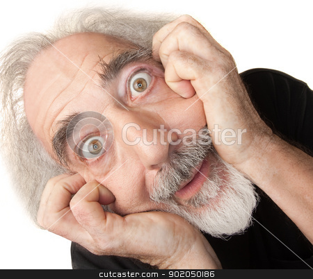Scared Senior Male stock photo, Scared male senior citizen man over isolated background by Scott Griessel