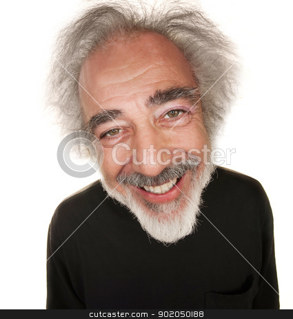 Happy Mature Guy stock photo, Happy white senior citizen in black shirt with smile by Scott Griessel