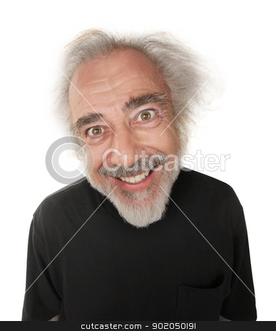 Man with Crazy Smile stock photo, Older man with messy hair and crazy smile by Scott Griessel