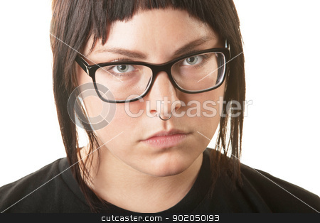 Serious Woman with Nose Ring stock photo, Serious young adult in black shirt and nose ring by Scott Griessel