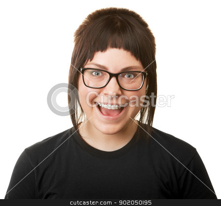 Smiling Woman with Braces stock photo, Smiling young woman wearing eyeglasses and braces by Scott Griessel