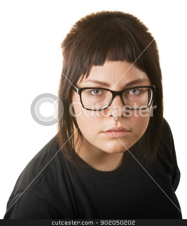 Young Lady Staring stock photo, Young lady with nose ring staring ahead by Scott Griessel
