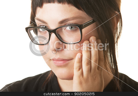 Lady Wearing Nose Ring stock photo, Caucasian female with nose ring and hand on face by Scott Griessel