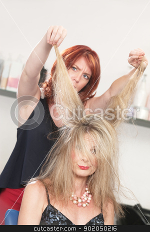 Annoyed Hair Stylist stock photo, Annoyed hair stylist pulling on woman's blond hair  by Scott Griessel
