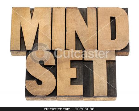 mindset in wood type stock photo, mindset - isolated phrase in vintage letterpress wood type blocks by Marek Uliasz