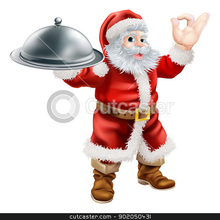 Santa Chef stock vector clipart, An illustration of Santa Claus doing a chef's perfect sign with his hand and holding a covered tray of food by Christos Georghiou