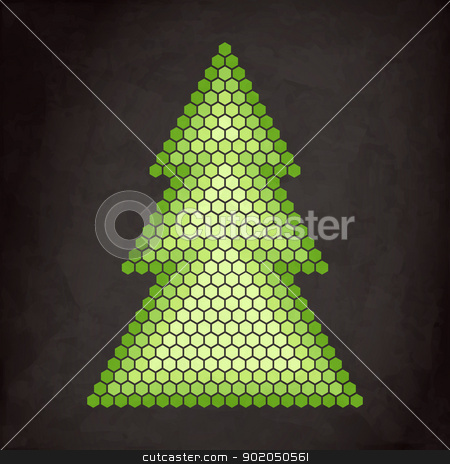 honeycombs tree stock vector clipart, new royalty free illustration with green tree on vintage background by metrue