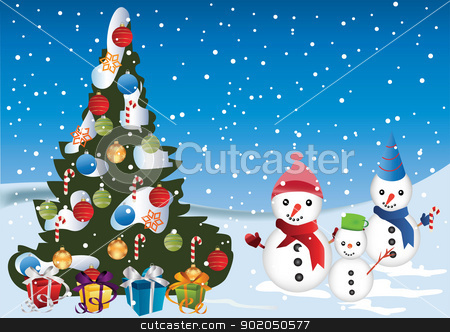 Christmas Card stock vector clipart, Christmas Card with  snow man Christmas tree and decorations by monicaodo