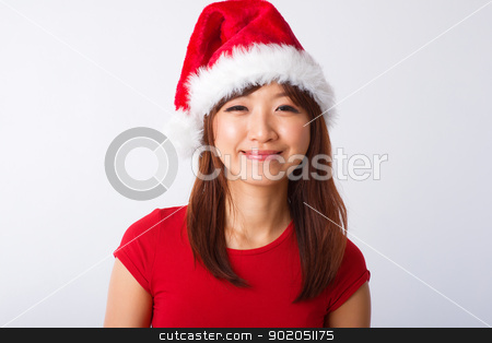 Asian Christmas girl portrait stock photo, Asian Christmas girl on grey background by szefei