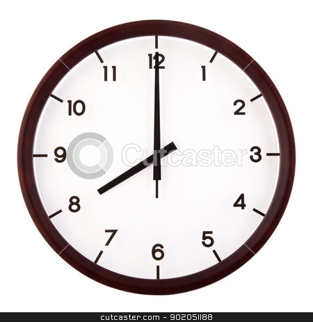 Analog clock stock photo, Classic analog clock pointing at 8 o'clock, isolated on white background by szefei
