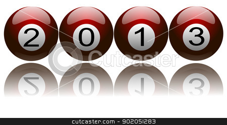 New Year 2013 on Pool Balls stock photo, Illustration of New Year 2013 with digits on pool balls  by Sidharth Thakur