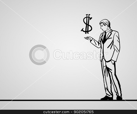 Financial success in business stock photo, Pencil drawing about financila success in business by Sergey Nivens