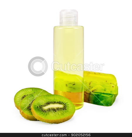 Shower gel and soap and kiwi stock photo, Bottle of shower gel, two bars of homemade green soap, a few slices of kiwi isolated on white background by rezkrr