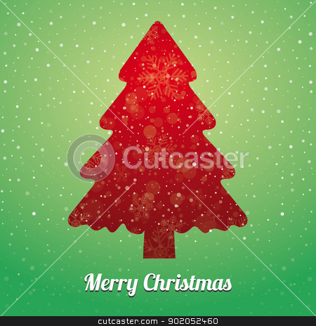 christmas tree snowflake green red stock vector clipart, christmas tree snowflake snow stars green red by d3images