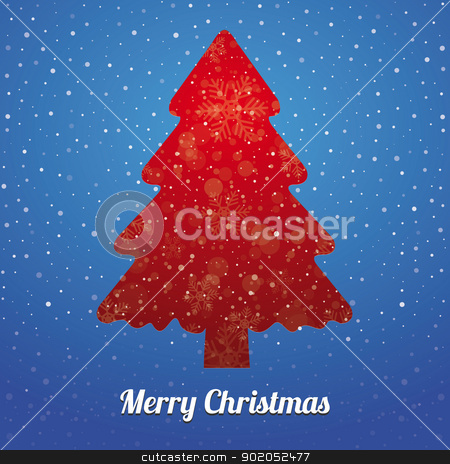 christmas tree snowflake red blue stock vector clipart, christmas tree snowflake snow stars red blue by d3images