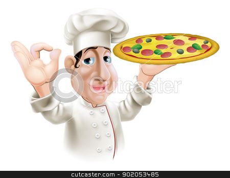 Happy Pizza Chef stock vector clipart, A happy Italian pizza chef doing an okay gesture and holding a tasty pizza.  by Christos Georghiou
