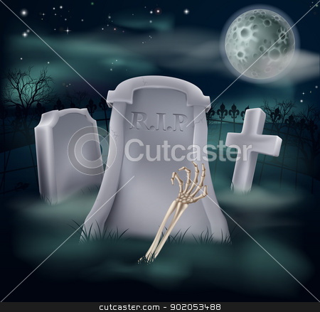 Undead skeleton hand grave stock vector clipart, Illustration of an undead skeleton hand and arm reaching out of a spooky grave by Christos Georghiou