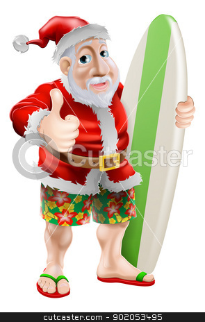 Thumbs up surfing Santa Claus stock vector clipart, An illustration of Santa in flip-flop sandals and beach board shorts holding a surf board and doing a thumbs up by Christos Georghiou