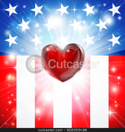 American Heart Patriotic Background stock vector clipart, American flag patriotic background with heart, concept for love of country. Great for 4th of July or military themes.  by Christos Georghiou