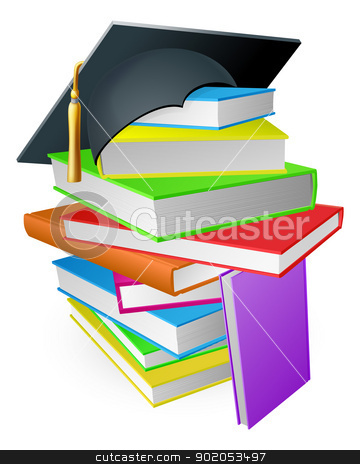 Education book pile graduation hat concept stock vector clipart, Education concept, a pile of books with a mortar board graduation hat on top  by Christos Georghiou