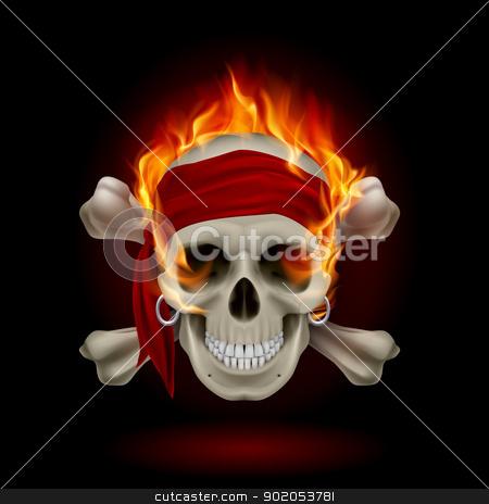 Skull in Flames stock photo, Pirate Skull in Flames. Illustration on black by dvarg