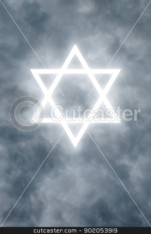 Glowing Star of David in clouds stock photo, Glowing Star of David among dark clouds by J.R. Bale